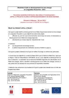 APPEL A PROJETS FILIÈRE D'APPROVISIONNEMENT EN BOIS ÉNERGIE