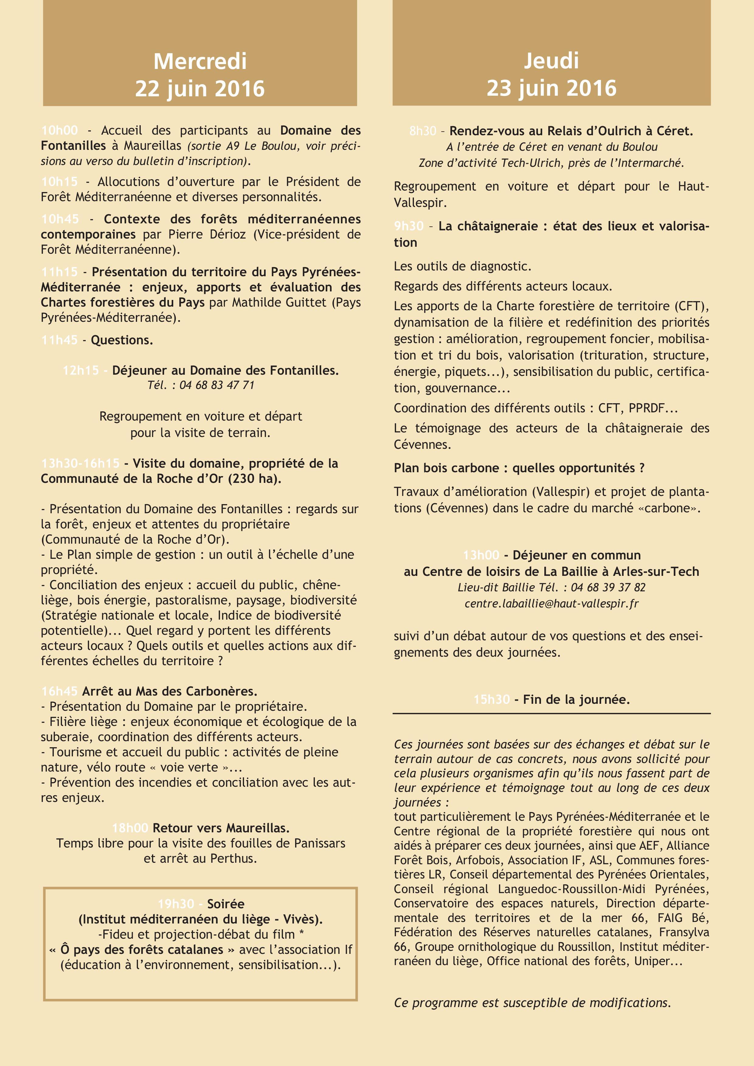 Programme Rencontre Forêt Méditerranéenne